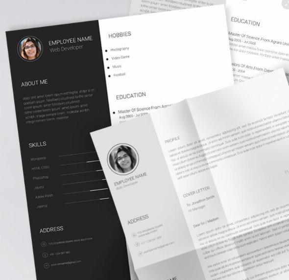 free editable print-ready resume  cv template psd
