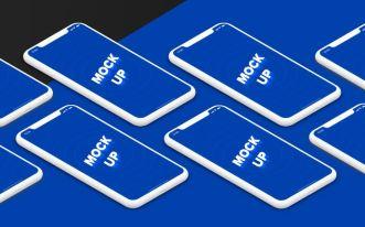 Isometric iPhone X Mockups PSD