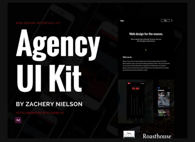 Dark Agency UI Kit For Adobe XD