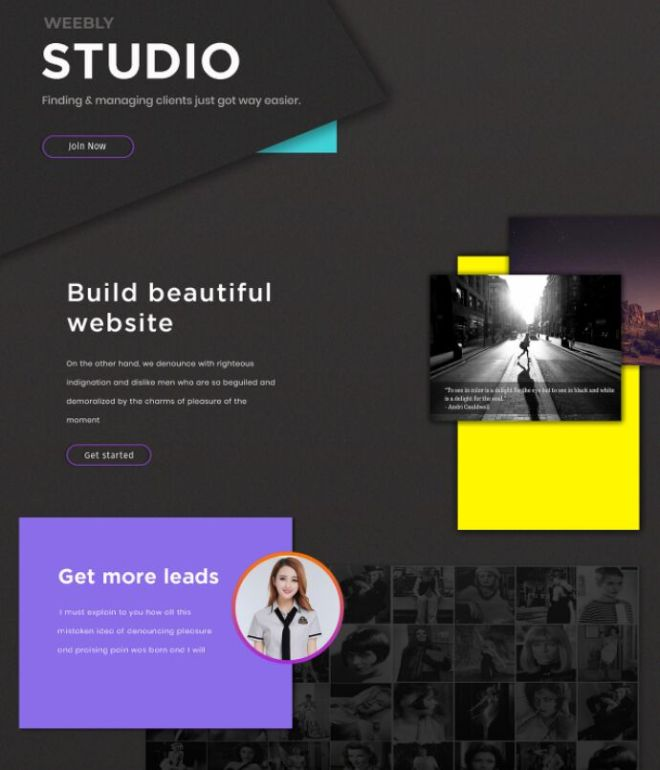 Modern Weebly Studio Template Design PSD