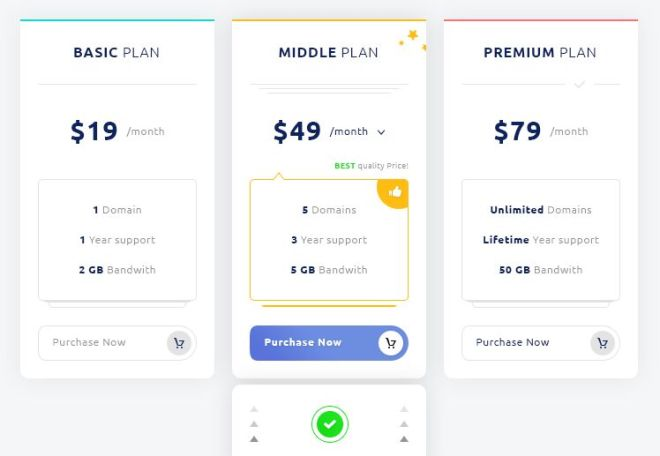 Clean 3-column Pricing Table PSD Template
