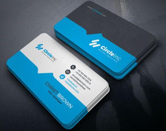 Blue & Orange Business Card PSD Templates