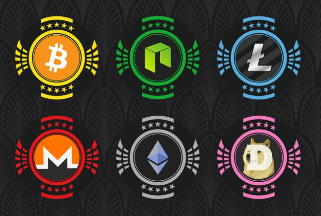 Cryptocurrency Chips Vector-min