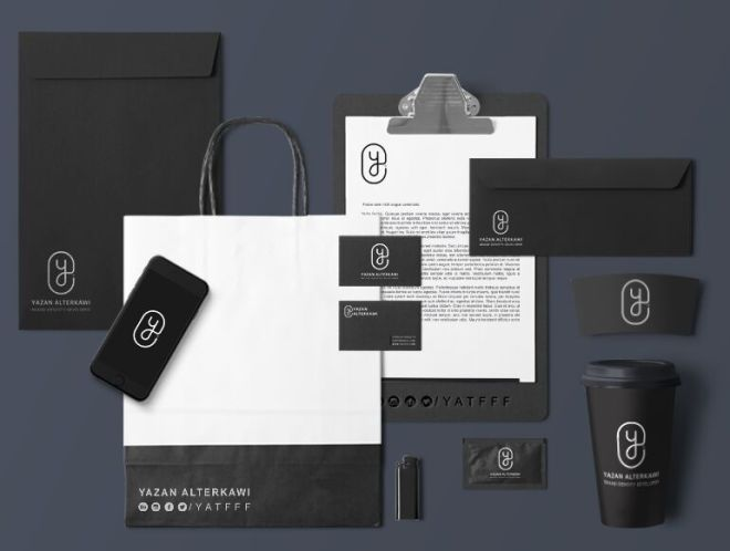 Black Identity & Stationary Mockup PSD-min