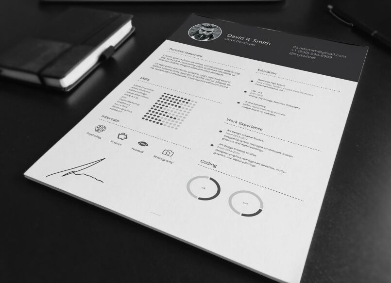 free clean dark resume mockup  ai