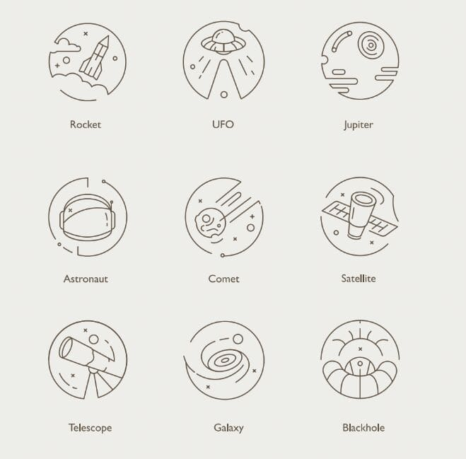 9 Space Line Icons Vector-min