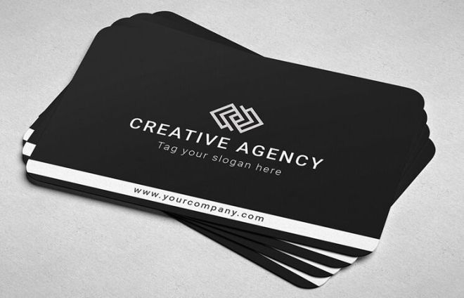 Minimal Dark Rounded Business Card PSD Mockup-min