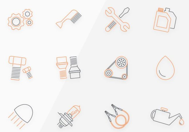 12 Auto Icons (AI, EPS, PSD, SVG)