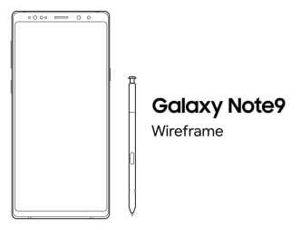 Samsung Galaxy Note 9 Sketch Wireframe-min
