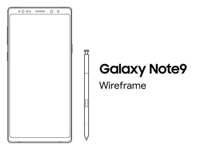Samsung Galaxy Note 9 Sketch Wireframe-min