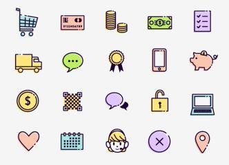 Minimal E-Commerce Icon Set Vector-min