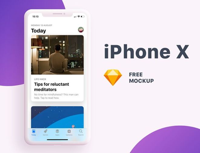 Modern iPhone X Screen Mockup For Sketch-min