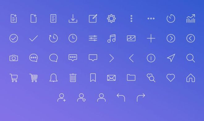 40+ Thin Line Icons For Web-min