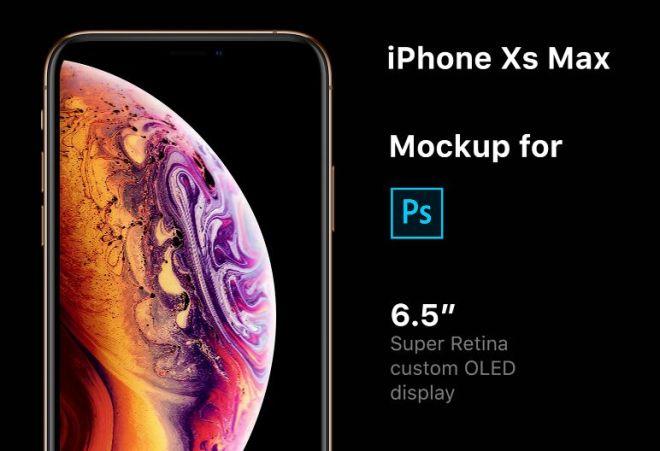 Realistic 6.5'' iPhone XS Max PSD Mockup