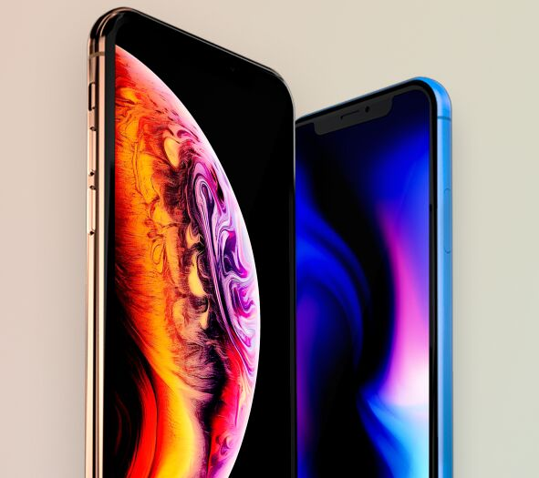 Standing iPhone XS & XR PSD Mockup-min