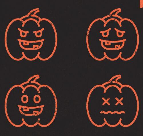 Sweet Halloween Pumpkin Vector Icons
