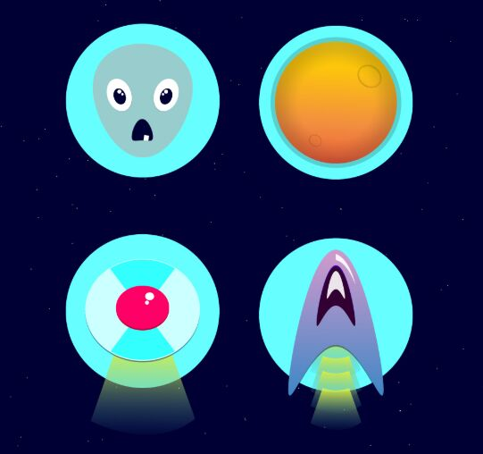 4 Alien Icons Vector