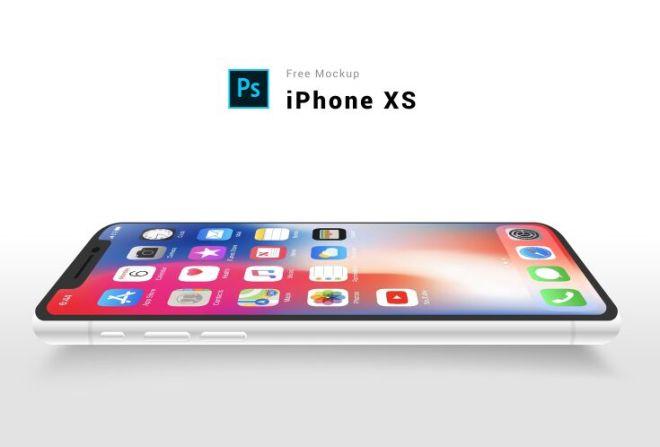 Flat Silver iPhone Xs PSD Mockup
