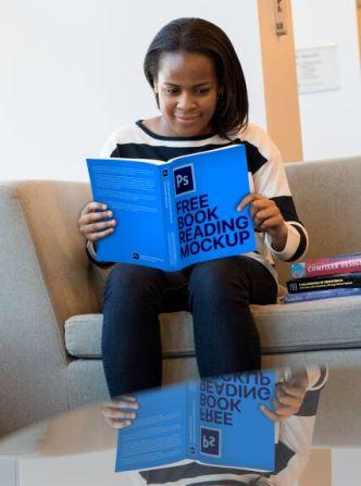 Girl Reading A Book PSD Mockup
