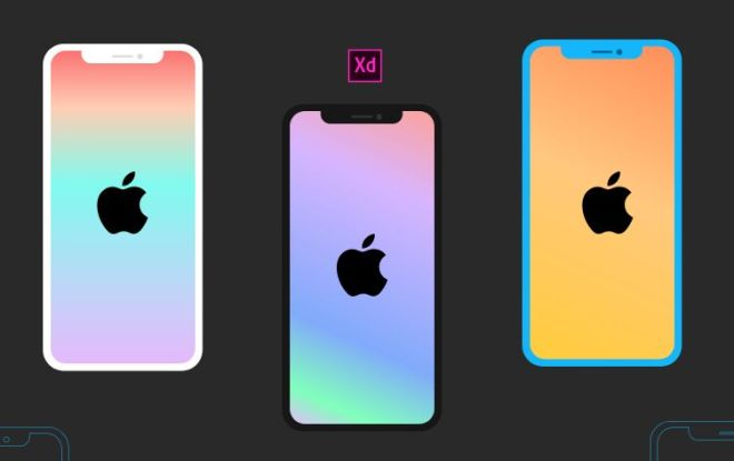 Flat iPhone X XS XR Mockup For Adobe XD
