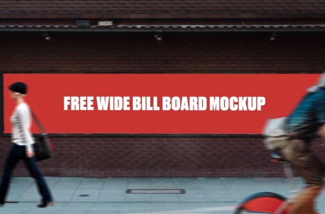 Wide Wall Billboard PSD Mockup