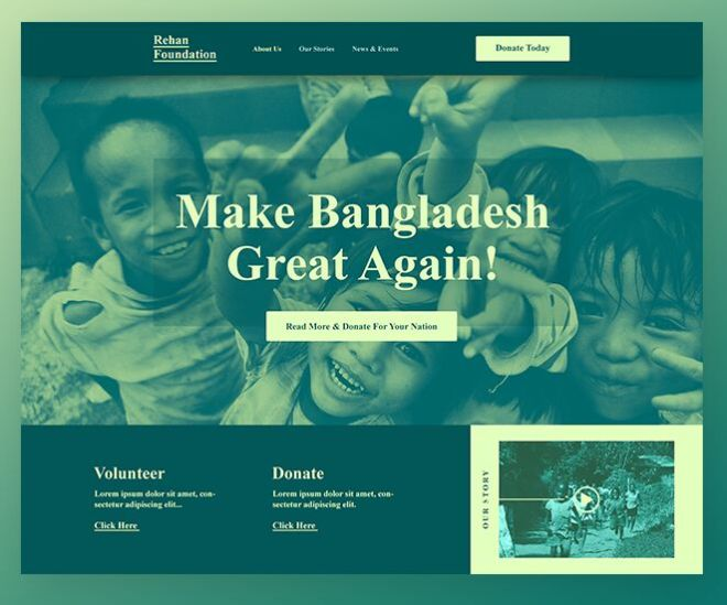 Non-profit Organization Web Template PSD
