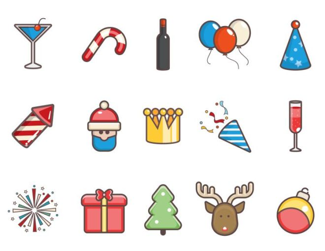 15 Sweet Christmas Icons Pack Vector