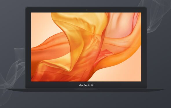Dark Macbook PSD Mockup