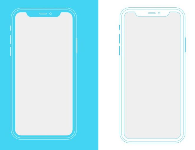 Outlined iPhone X PSD Mockup
