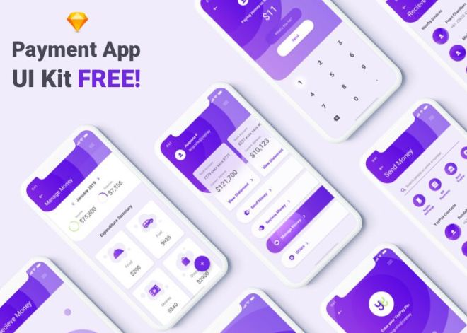 Elegant Payment & Wallet App UI Kit For Sketch