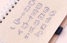 Minimal Drinks Stroke Icons Vector
