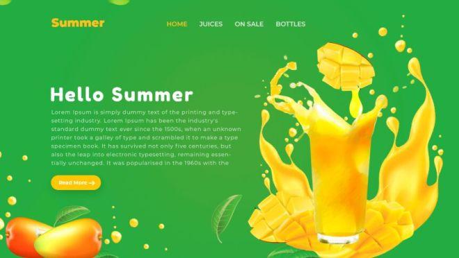 Summer Juice Web Landing Page PSD Template