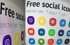 Rounded Social Icons Vector (EPS+XD)