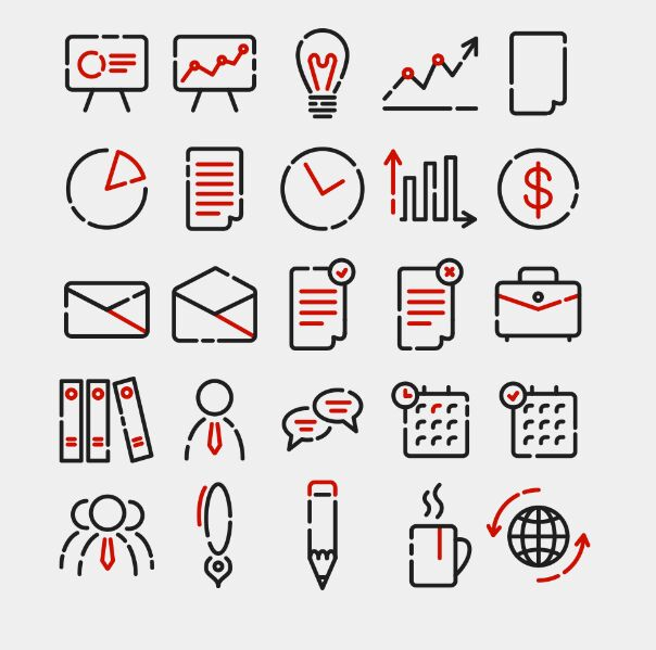 25 Office Icons Pack Vector (AI)