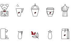 10 Barista Line Icons Vector