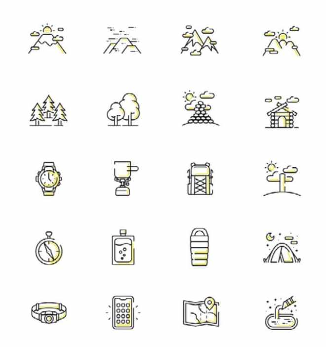 20 Hiking Line Icons Vector