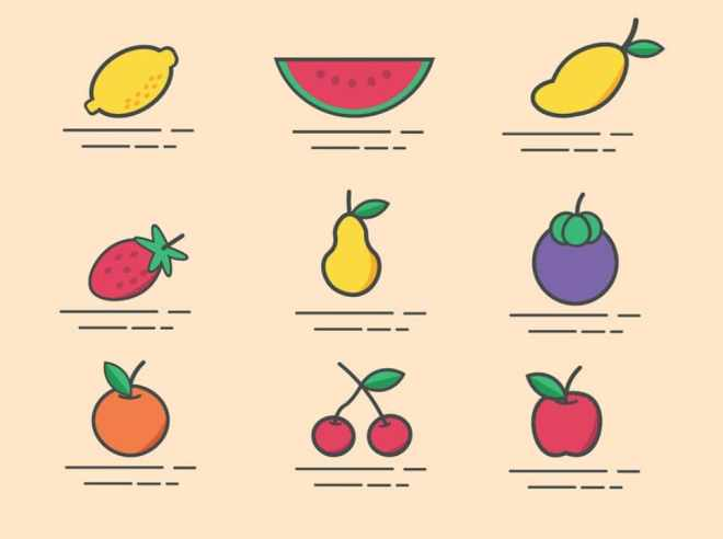 9 Minimal Fruit Icons Vector