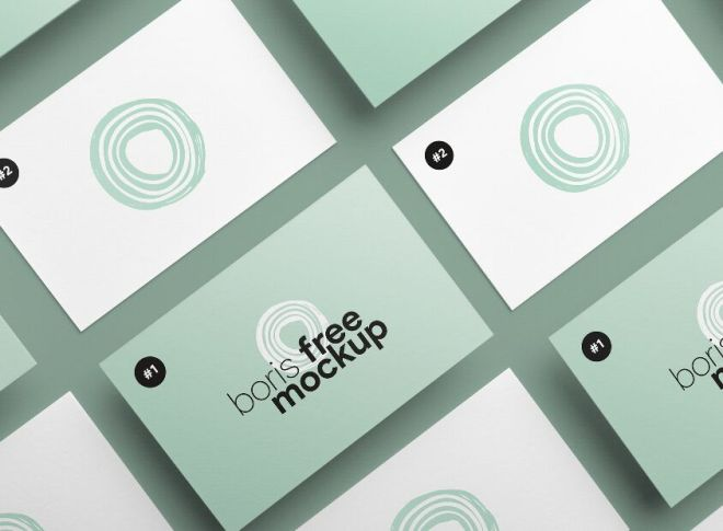 Business Card Top View Showcase PSD Mockup
