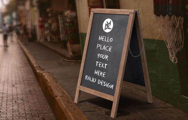 Realistic Sandwich Board PSD Mockup