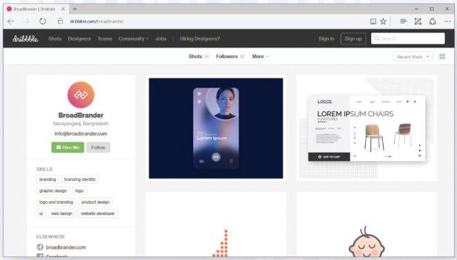 MS Edge Web Browser Mockup PSD