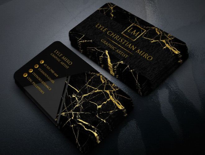 Dark Business Card With Marble Pattern Mockup PSD