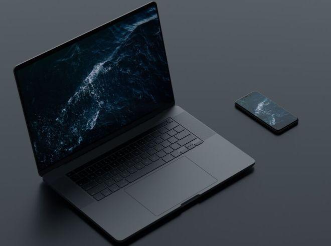 Dark Macbook & iPhone PSD Mockup
