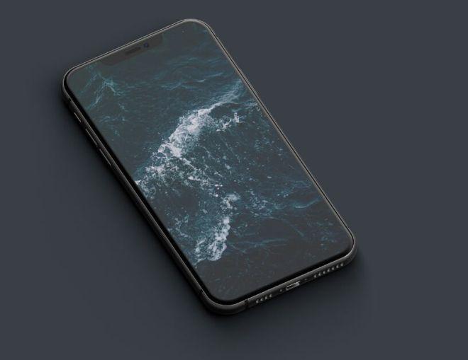 Dark iPhone 11 Pro On The Desk PSD Mockup