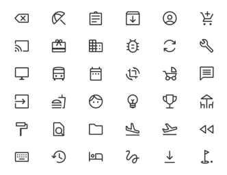 400 Material Design Line Icons SVG