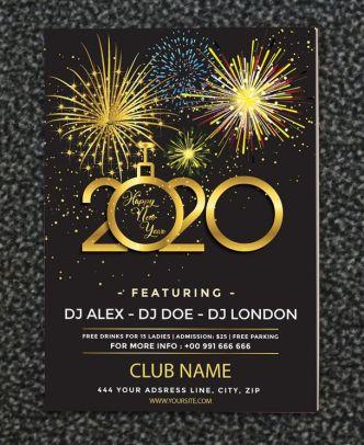 Print Ready Happy New Year 2020 Club Flyer Template (AI)