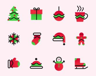 12 Minimal Christmas Icons Vector
