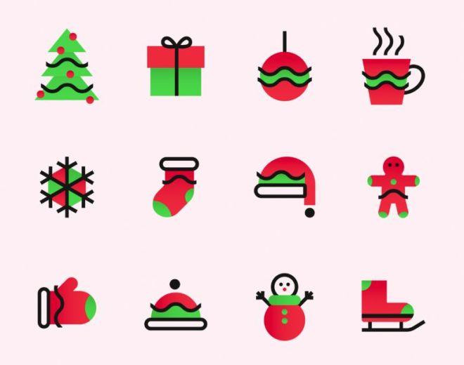 12 Minimal Christmas Icons Vector