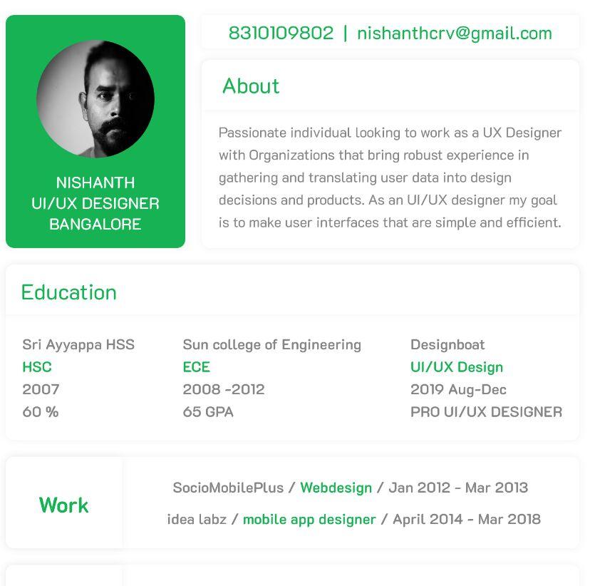 Free Minimal Clean Resume Template For Designers Adobe Xd Titanui