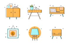 6 Furniture Icons Vector