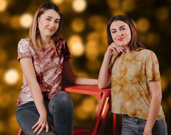 Marble Texture Women's T-Shirt PSD Mockup